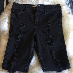 Abercrombie black distressed denim